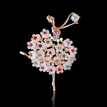 Ballet Dancer Ballerinas Brooches For Women Beautiful Princess Ballerina Brooch Exquisite Multicolor Crystal Pins Jewelry Gift