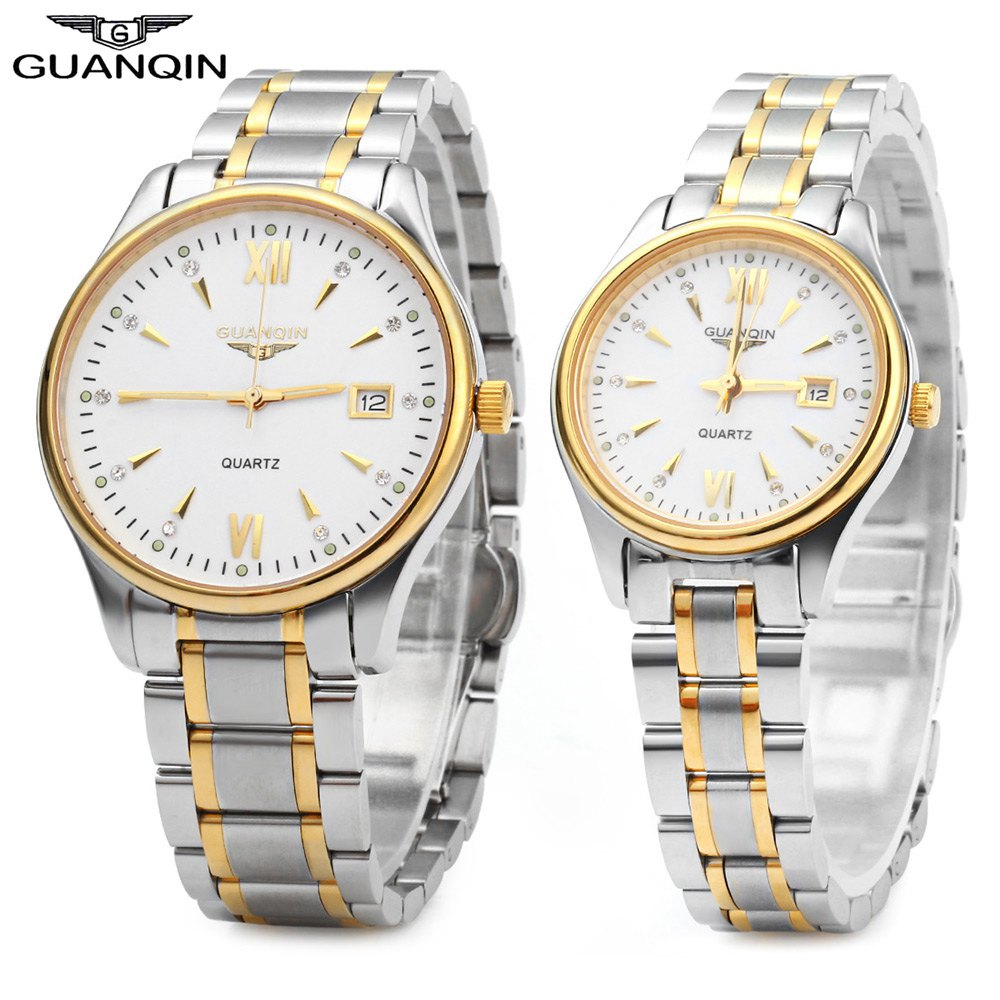 GUANQIN Couple Calendar Rhinestone Luminous Quartz Watch with 30M Water Resistant