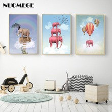Nordic Kids Room Flying Elephant Canvas Painting Posters and Prints Hot Air Balloon Nursery Wall Pictures Children Room Decor