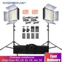 Capsaver 2 en 1 Kit LED lumière vidéo Studio Photo LED panneau d'éclairage photographique avec trépied sac batterie 600 LED 5500 K CRI 95