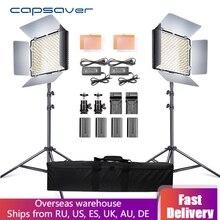 Capsaver 2 в 1 комплект светодиодный свет для студийной видеосъемки фото светодиодный панель фотографического освещения с штативом сумка батарея 600 светодиодный 5500 K CRI 95
