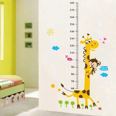 Детские размеры Ростомер рост ребенка измерения высота линейка настенная бумага Милая мультяшная Наклейка на стену - Цвет: K