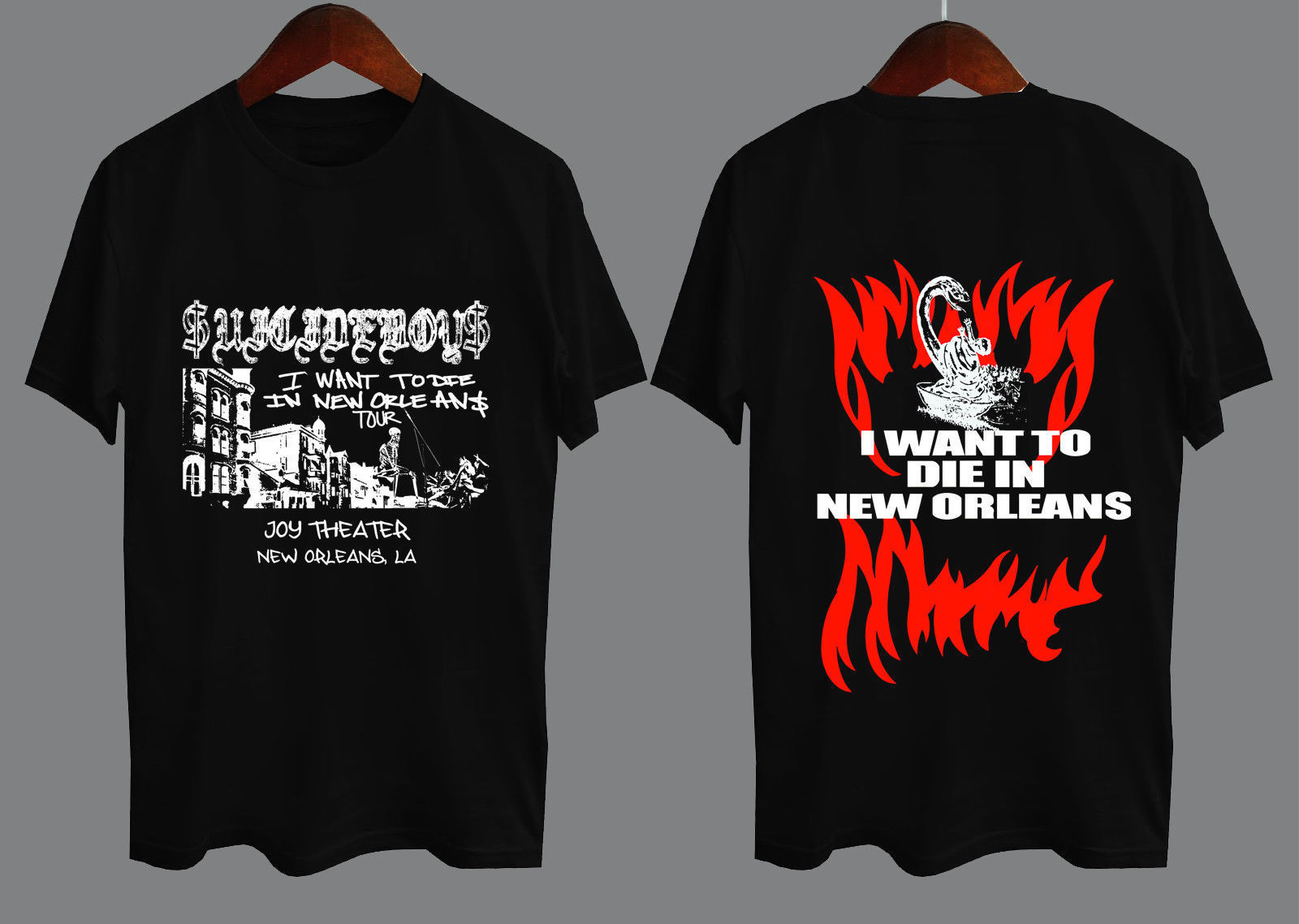 SUICIDEBOYS 2018 TOUR I WANT TO DIE IN NEW ORLEANS $UICIDEBOYS T-shirt Size S To 3XL Men'S High Quality Tees Top Tee T Shirt