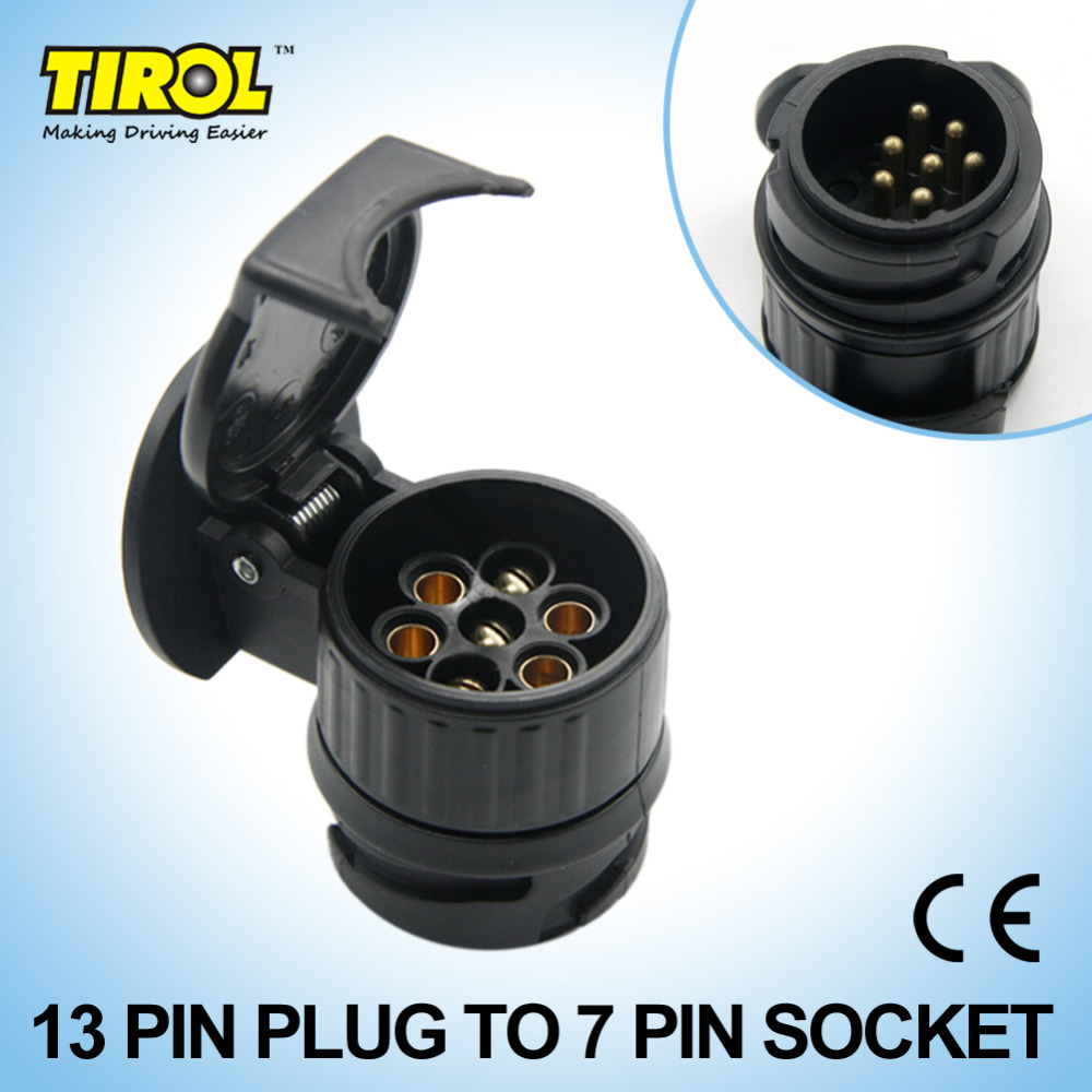 tirol 13 to 7 pin trailer adapter black plastic trailer wiring connector 12v towbar towing plug n type t22775a free shipping [ 1000 x 1000 Pixel ]