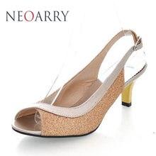 Neoarry плюс Размеры 30-46 новые летние модные женские туфли сандалии повседневные на среднем каблуке Вьетнамки открытым Летняя стильная обувь JT022