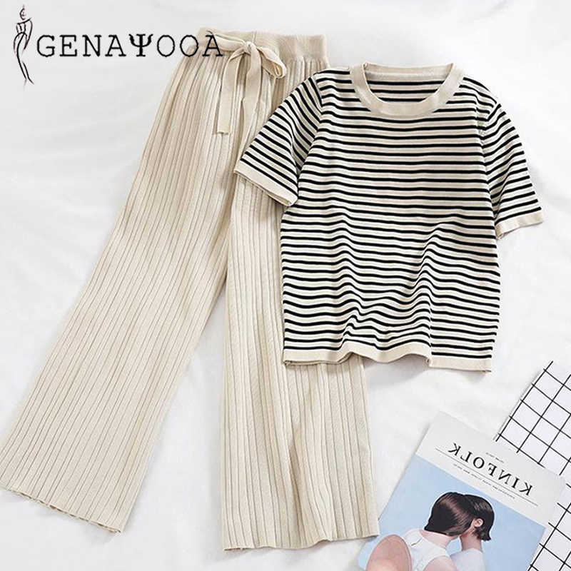 Genayooa Knitted Autumn Office Lady 2 Piece Set Women Pants Elastic Waist Striped O-neck Tshirt Two Piece Set Pants 2019