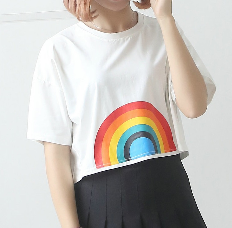 T shirt high waist LGBT rainbow girl sport yoga les Smock women Blouse unisize tops outerwear in Yoga Shirts from Sports Entertainment