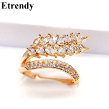 Statement Big Leaf Rings For Women Personality AAA Zirconia Double Layers Ring Jewelry Party Bijoux Gold/Silver Color Fine Gift