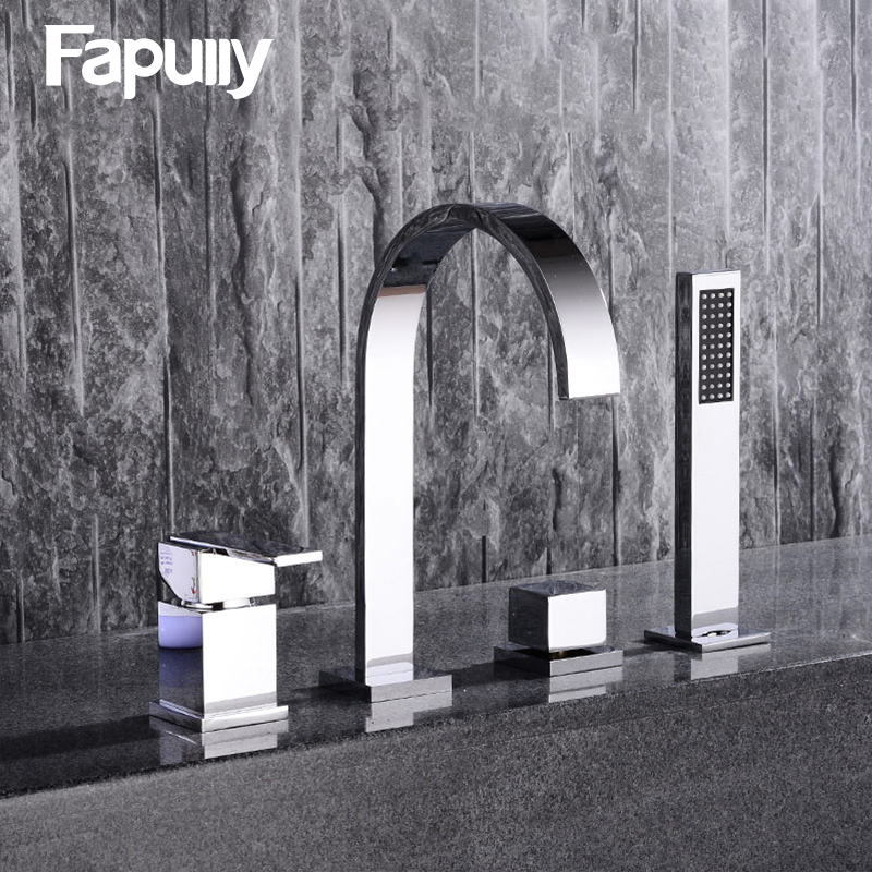 Fapully Bathroom Sink Faucet Flexible Hand Spray Chrome Basin Faucet Single Handle Pull Out Hot Cold