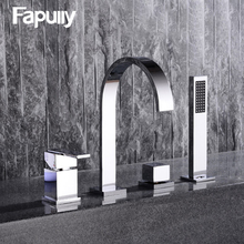 цены Fapully Bathroom Sink Faucet Flexible Hand Spray Chrome Basin Faucet Single Handle Pull Out Hot&Cold Water Mixer Bathtub Taps