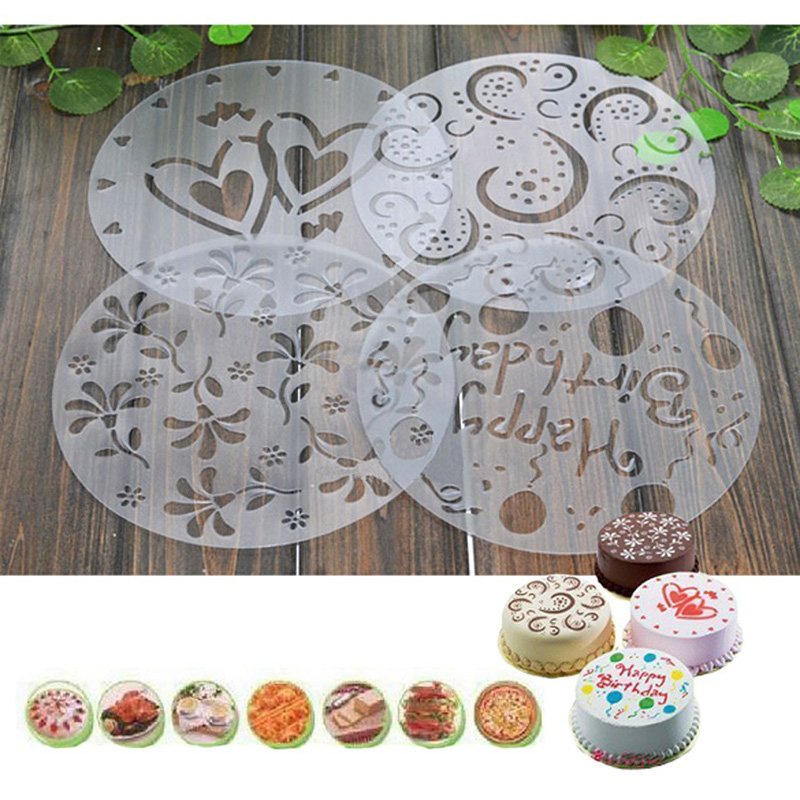 4pcs/lot PVC Spray Mold Coffee Sugar Powder Sieve Cake Moulds Transfer Mould Cake Decorating Tools Kitchen Baking Accessories 20