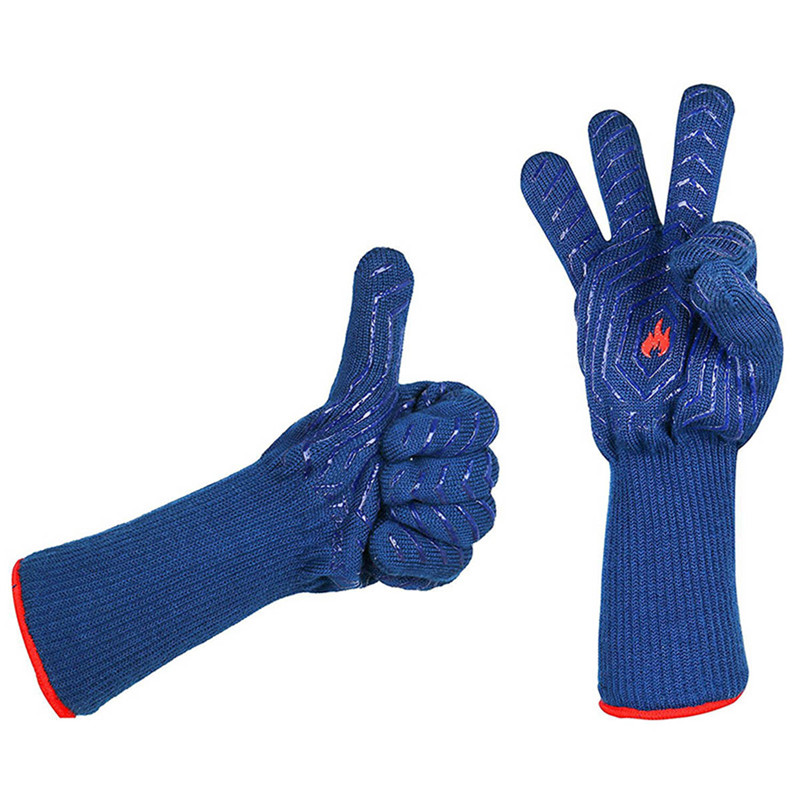 1 pair blue heat resistant insulation grill microwave oven mitts gloves for kitchen bbq cooking baking