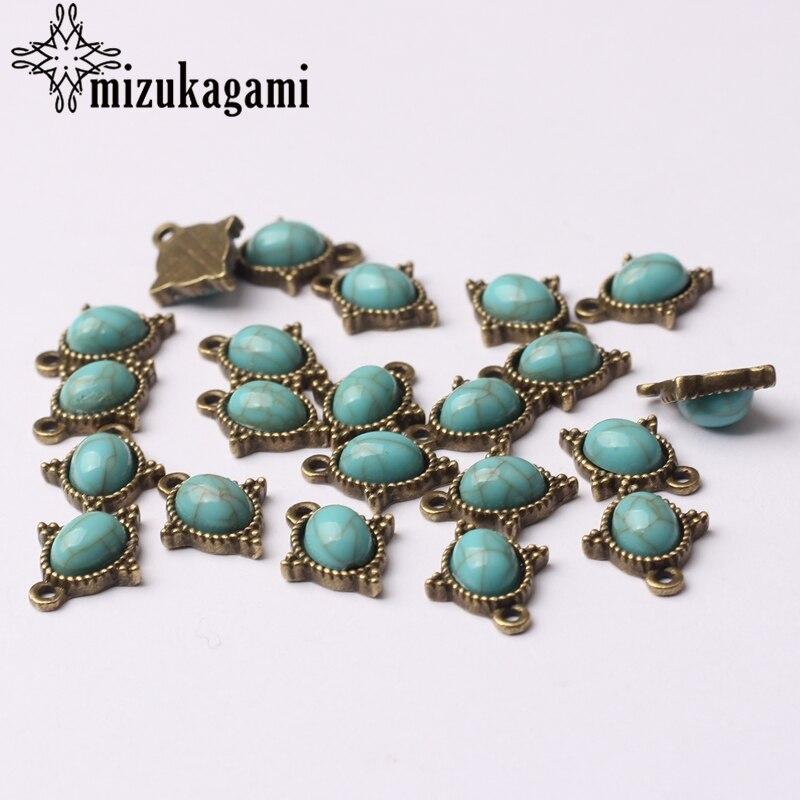Ретро бронзовые маленькие овальные камни из голубого полимера Подвески из цинкового сплава 12*15 мм 10 шт./лот для DIY серьги ожерелье ювелирные аксессуары