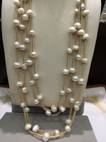 10 11MM Baroque Natural fresh water pearl necklace long necklace 80CM multilayer leather free shipping fashion women jewelry