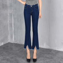 Denim jeans casual flare pants for women plus size cotton blend plus size spring summer autumn new fashion slimming blue xbf0706