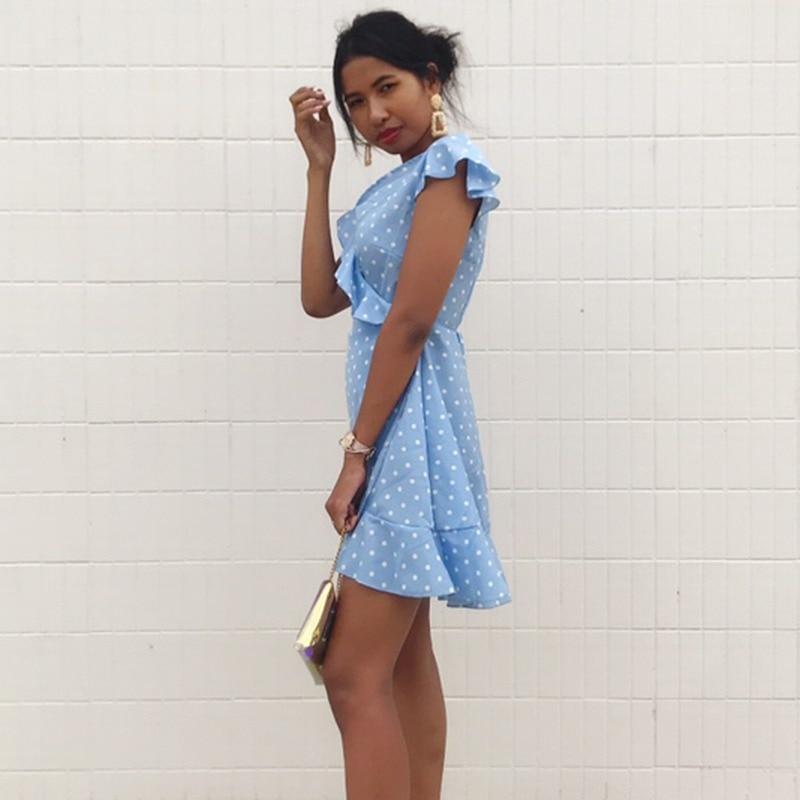 Women\'s  Dress Summer Sexy  V Neck Dot Slim Waist A-line Dress Fashion Butterfly Sleeve Elegant Vintage Mini Dress Feminina