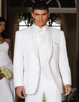 Custom Made White Wedding Tuxedos For Men, Bespoke White Suits With Ivory White Vest,High Quality Mens White Wedding Suits