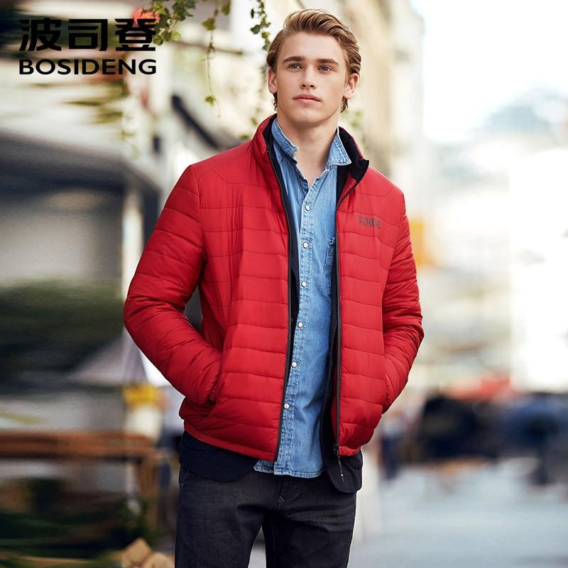 BOSIDENG début d'hiver duvet de canard veste pour hommes en bas du manteau petit lettre impression sur la poitrine haute qualité ultra lumière B70131101