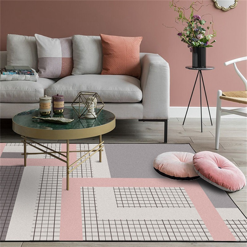 Nordic Simple Style Large Size Area Rugs Geometric Pink Grey Carpet for Living Room Anti-Slip Kids Bedroom Sofa Chair Floor Mat