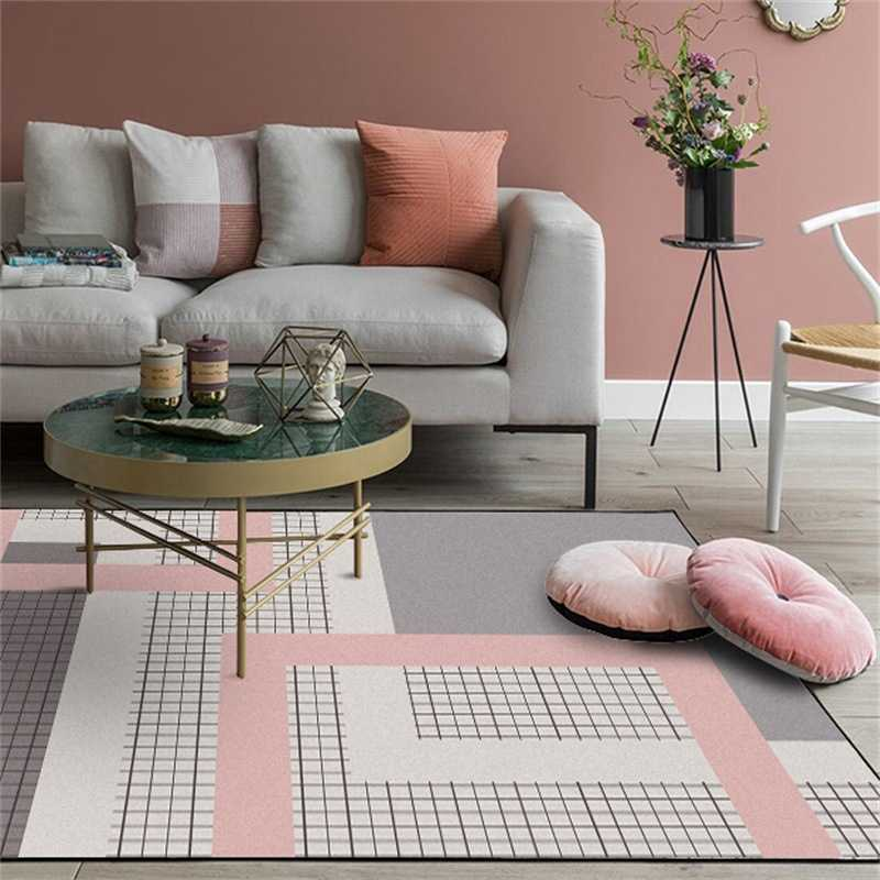 Nordic Simple Style Large Size Area Rugs Geometric Pink Grey