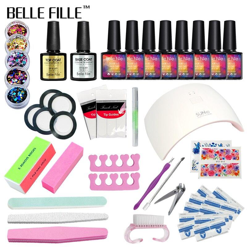 Belle Fille Set Gel UV Lamp Dryer Manicure  Manicure Top Coat Gel Polish Kit For Nail Salons Soak Off Nail Gel Polish 10pcs 10ml plain nail polish