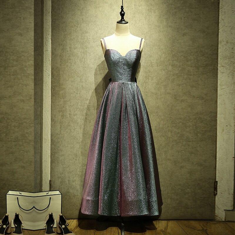 Élégante longueur moyenne argent-gris femmes Banquet robes de soirée avec grand arc Spaghetti sangle robe de soirée pour robe de bal de mariage
