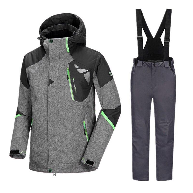 Hiver Combinaison de Ski Snowboard Ensembles Hommes D'hiver Imperméables Veste Pantalon Hommes de Sport Costume Épaissir Hommes Pantalon de Snowboard Vestes hommes