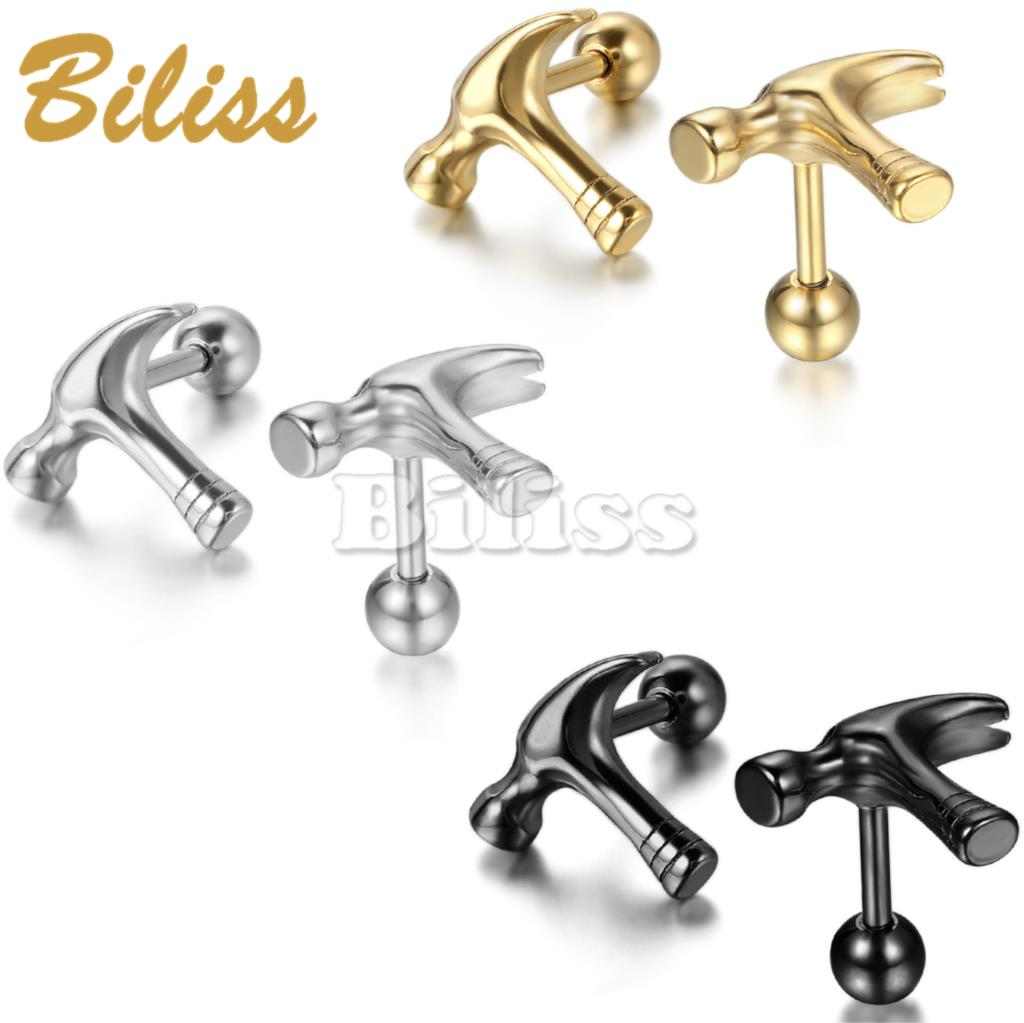 1 pair New Stainless Steel Men Earrings Unique Personality Stud ...