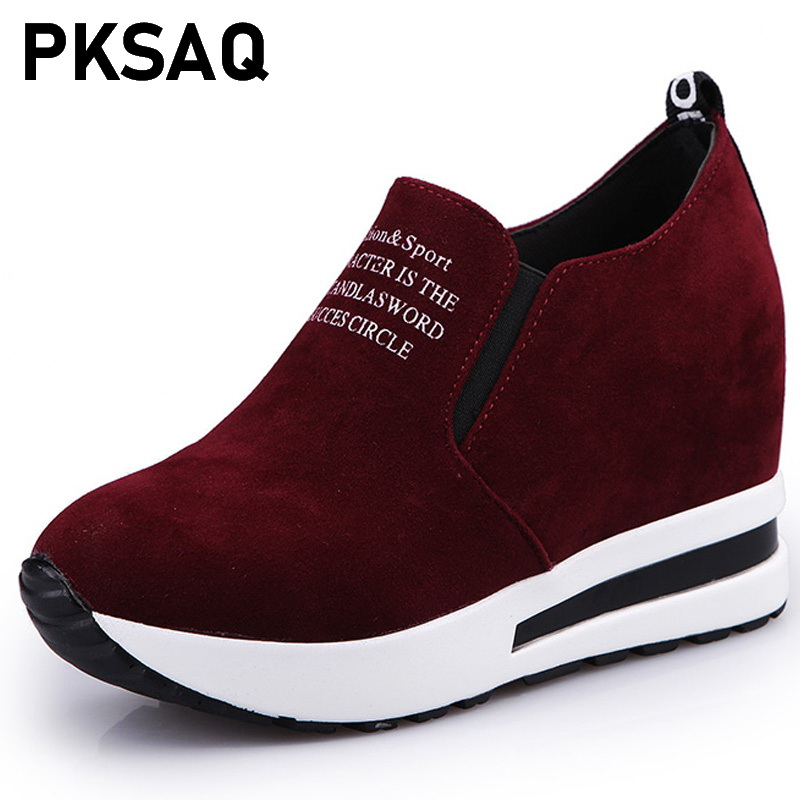 Breathable Height Increasing Shoes 2019 Flock New High Heel Lady Casual black/Red Women Sneakers Leisure Platform ShoesBreathable Height Increasing Shoes 2019 Flock New High Heel Lady Casual black/Red Women Sneakers Leisure Platform Shoes