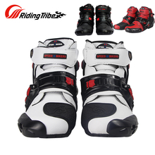 Riding Tribe Racing Motorcycle Boots Motocross Protective Gear Shoes Off-road Riding Boots Red Black White Color A9001