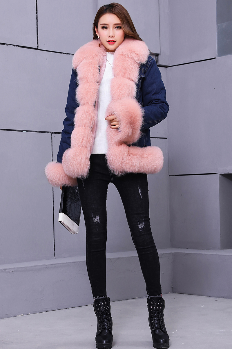 brand 2018 denim parka real fur coat winter jacket women real natural fox fur coat thick warm fur parkas street style new