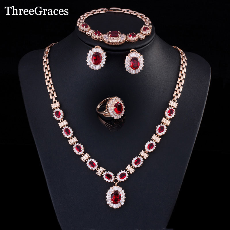 ThreeGraces Nigerian Women Red Cubic Zirconia Crystal Earing And Necklace Bracelets Ring Gold Color Wedding Jewelry Set JS167ThreeGraces Nigerian Women Red Cubic Zirconia Crystal Earing And Necklace Bracelets Ring Gold Color Wedding Jewelry Set JS167