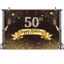MEHOFOTO Happy 50th Birthday Backdrop for Photography Party Decoration Background Celebration Champagne Gold Sequins Shiny Star