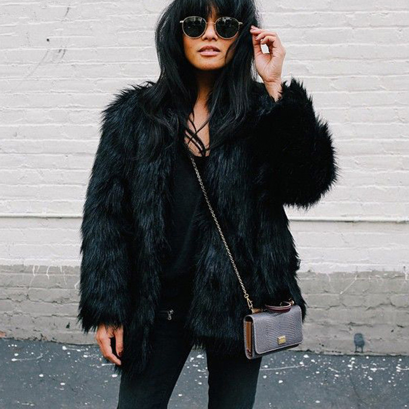 Womens Black Fur Coat