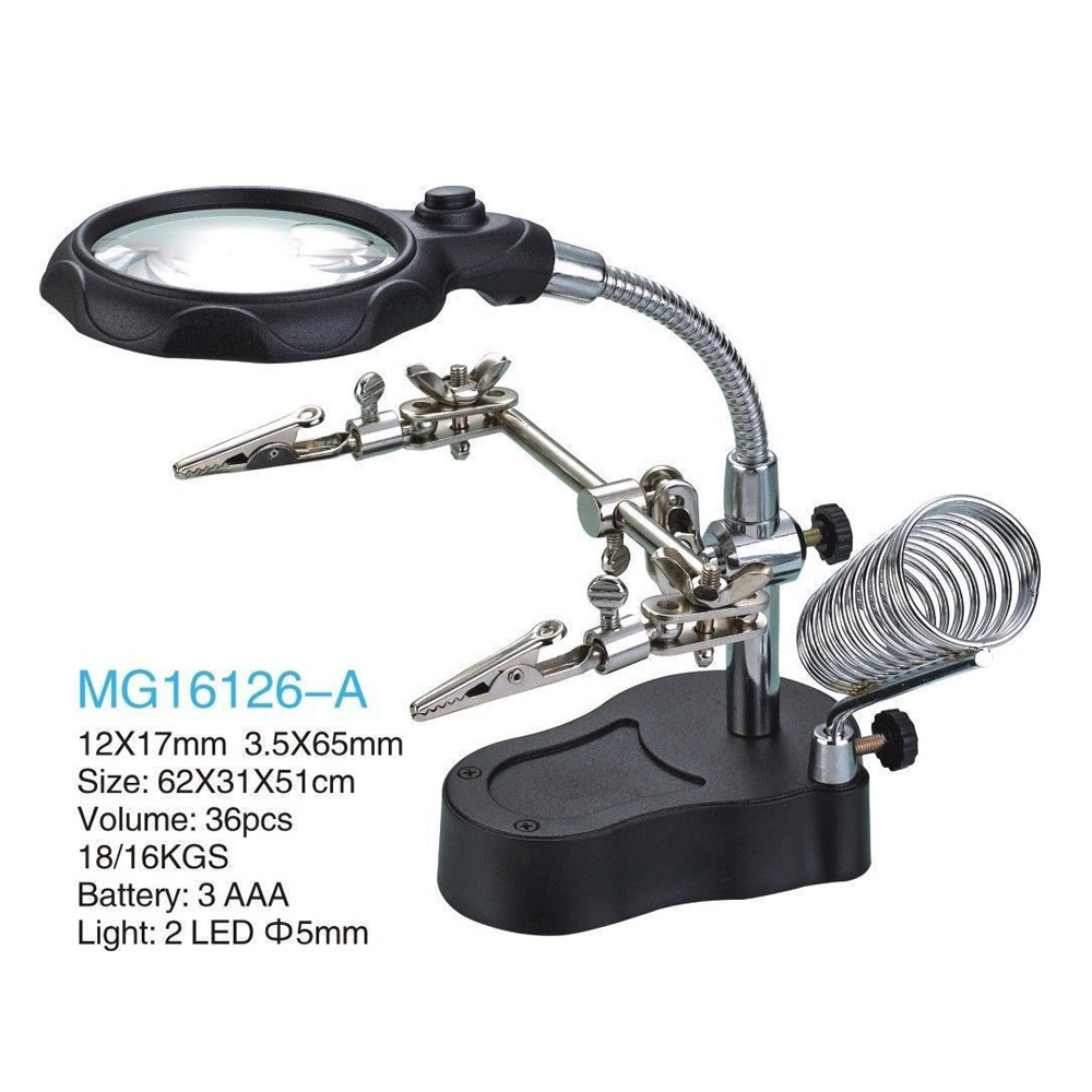 Electric Soldering Irons Soldering Stand Mg16126-a For Solder Work Magnifying Glass Honest 3.5x 12x Helping Hand Portable Led Magnifier With Light Welding Equipment