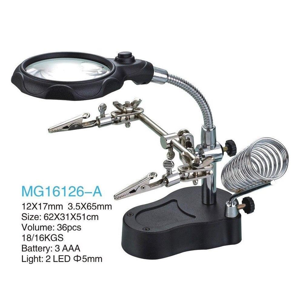3.5X 12X Helping Hand portatile HA CONDOTTO LA Lente di Ingrandimento con la Luce, il Basamento di Saldatura MG16126-A per saldatura lavoro lente di ingrandimento