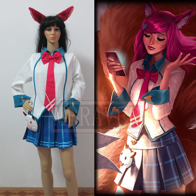 LOL Academy Ahri Cosplay Costume Halloween Uniform Whole Set Custom-made