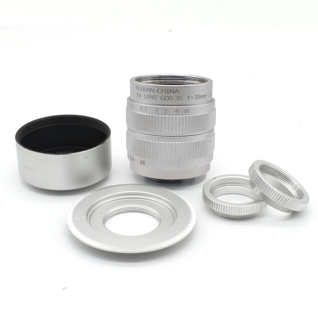 FUJIAN 35mm f/1.7 CCTV C Micro-camera lens+Micro  M4/3 Adapter+hood  for Panasonic Micro 4/3 E-P1 P3 G1 GF5 Macro  Freeshipping