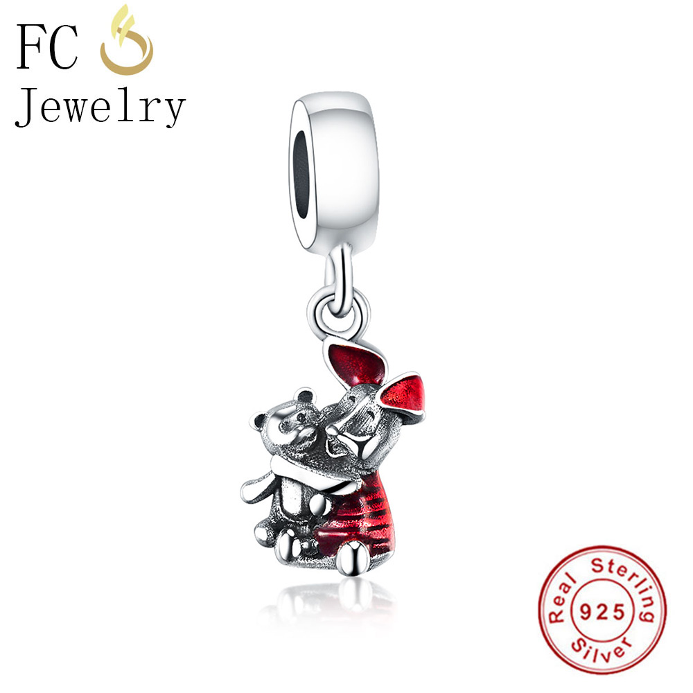 7f6acf8b2 FC Jewelry Fits Original Pandora Charms Bracelets & Bangle Authentic 925  Silver Pooh Bear Piglet Hanging Beads Pendant Berloque -in Beads from  Jewelry ...