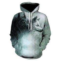 Fashion Men Wolf Animal 3D Printed Hooded Hoodies Men / Women's Shinning Wolf Design Sweatshirts 3D Harajuku Hoody 4