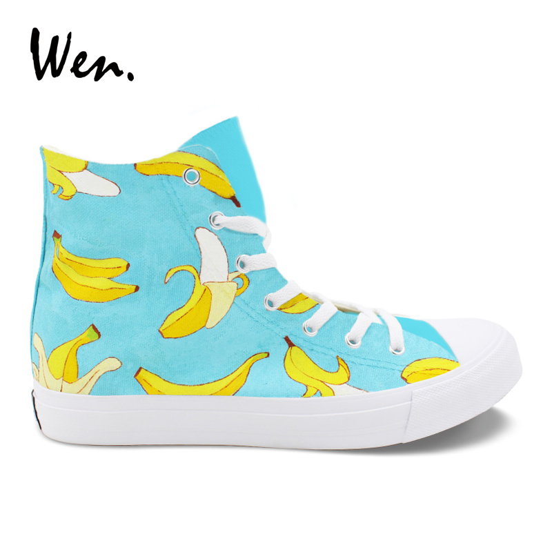 Wen Vulcanize Shoes Bananas Fruit Design Sneakers Hand Painted Canvas Shoes Men Women Top Trainers Pedal Platform Laced Flat