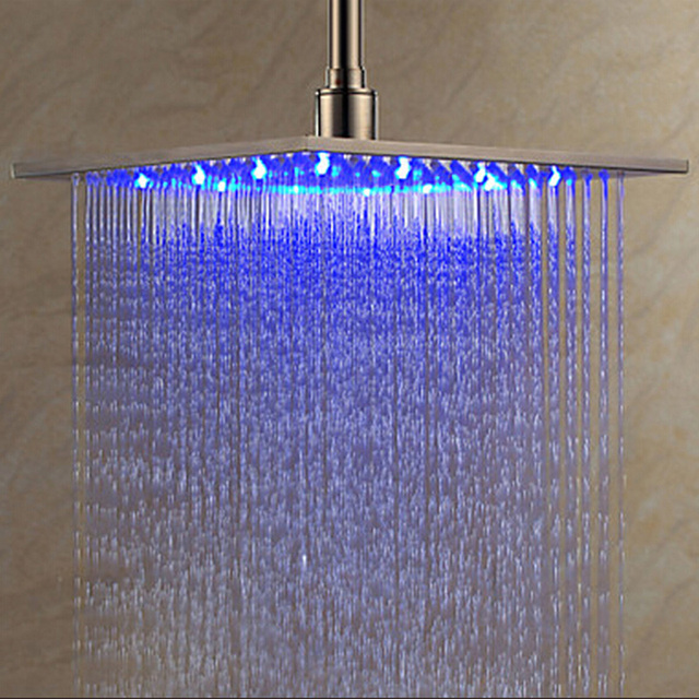 Luxury Brushed Nickel LED Light Color Changing Shower Head 8″ Rainfall Shower Head