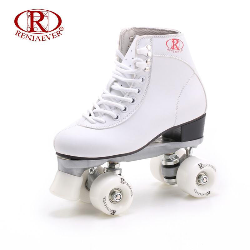 RENIAEVER Roller Skates Double Line Skates White Women Female Lady Adult With White PU 4 Wheels Two line Skating Shoes Patines reniaever double roller skates skating shoe gift girls black wheels roller shoe figure skates white free shipping