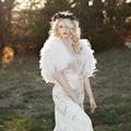 Elegante Pena Branca Do Casamento Do Inverno Coats 2016 Mulheres Nupcial Boleros Casacos Xailes para vestidos de noite Acessórios Do Casamento B169