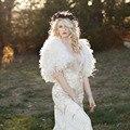 Elegante Pena Branca Do Casamento Do Inverno Coats 2017 Mulheres Nupcial Boleros Casacos Xailes para vestidos de noite Acessórios Do Casamento B169