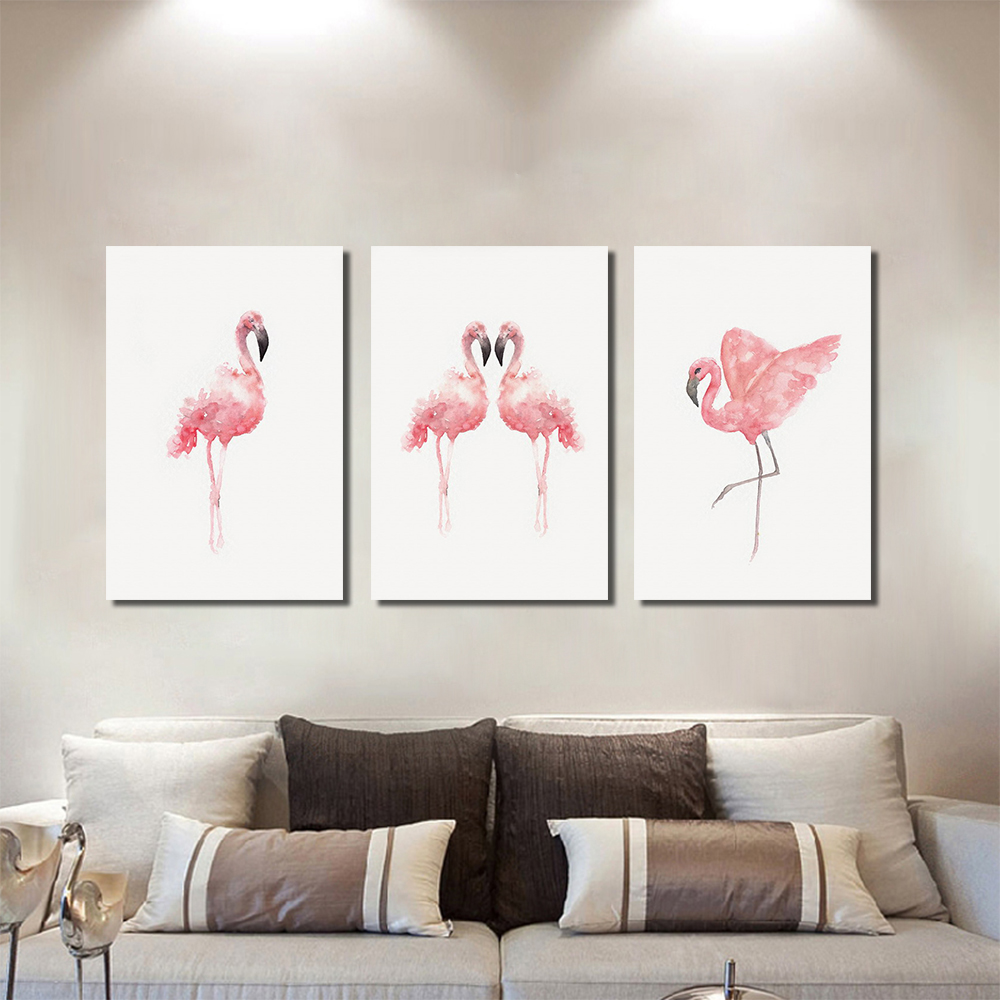 Unframed 3 HD Canvas Paintings Pink Crowned Crane Living Room Decorative Oil Painting Art Inkjet Mural Free Shipping