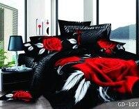 Zwart zebra huid rood rose bloem 3d print beddengoed set Egytian katoen bed cover spreien cal koning super kingsize meisjes slaapkamer