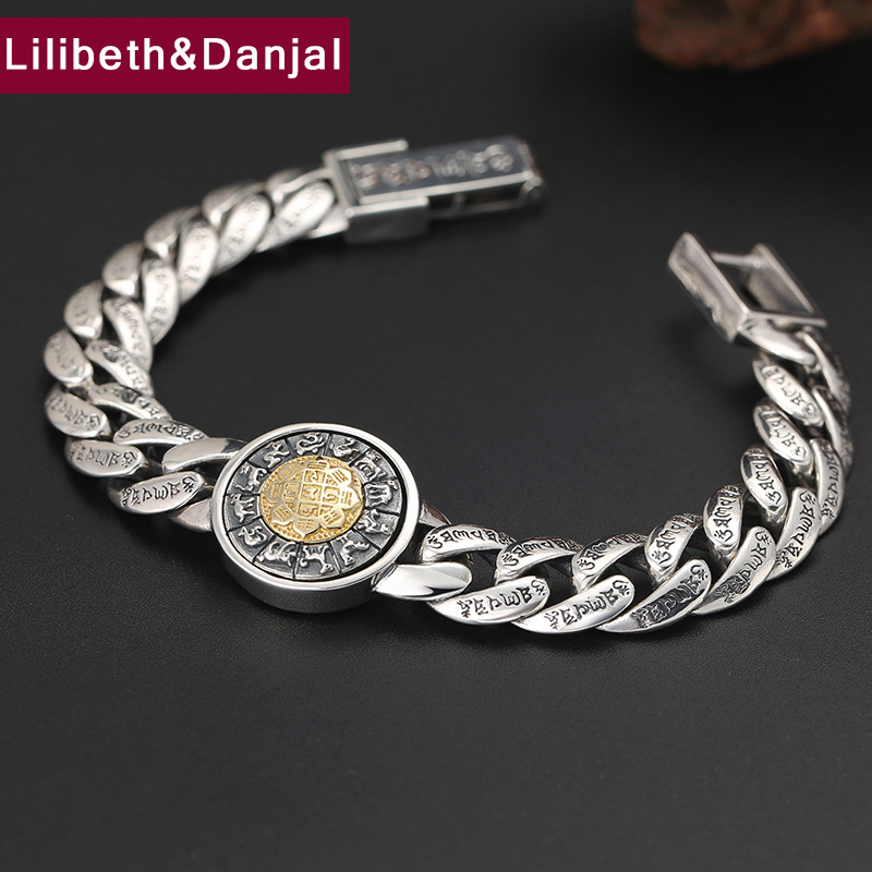 2019 Buddha Vajra Mantra Zodiac Gossip Rotatable Bracelet Bangle 100% 925 Sterling Silver Jewelry Men heren armband Bracelet B27-in Bracelets & Bangles from Jewelry & Accessories    1
