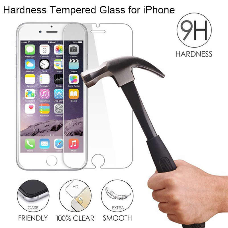 Screen Protector Glass for iPhone X 5 5S SE 4 4S 3 9H HD Tempered Glass for iPhone 8 6 6s Plus Clear Hard Glass on iPhone 7 Plus