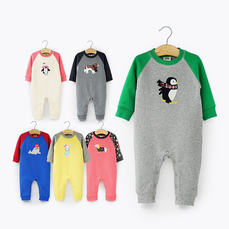 2017 new fashion Infant clothing baby romper long sleeve cartoon penguin one piece suit Jumpsuit newborn baby boy girl clothes baby rompers newborn infant clothing 2016 brand baby boy girl long sleeve one piece romper bamboo leaves toddler jumpsuit